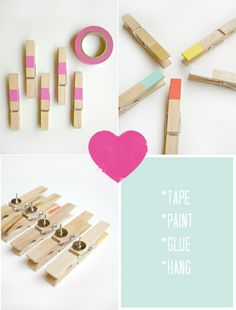 DIY thumbtack picture clips | Studio ToutPetit **love this idea decorate clothes pins, glue a tack on it,for notes pics on walls...or glue on small magnet for fridge*