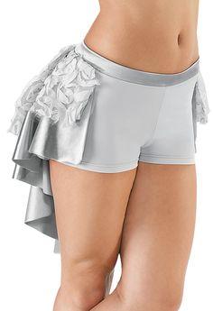 Ribbon Mesh Satin High-Low Bustle Shorts - Balera