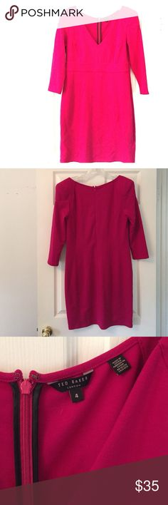 Ted Baker dress! Great condition! Pink color Great Ted Baker dress in fun fuchsia pink color! This dress is in perfect condition, just too big for me. Stretch material will make you look HOT! Ted Baker Dresses Midi