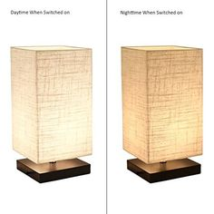 Finether Minimalist Wood Desk Lamp   Table Lamp with Fabric Shade Modern Bedside Lamp for Bedroom, Living Room, Office