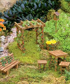 Another great find on #zulily! Miniature Fairy Garden Ivy Furniture Set #zulilyfinds