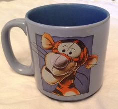 """DISNEY TIGGER PERIWINKLE BLUE COFFEE MUG CUP WINNIE THE POOH 3.5"""" TIGER  Available for sale on eBay!"""