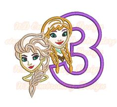 Cute Sisters Face Birthday Set Embroidery Applique