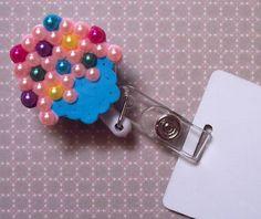 sprinkled cupcake id badge holder