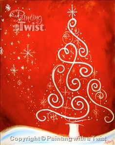 A Crimson Christmas - Orlando, FL Painting Class - Painting with a Twist