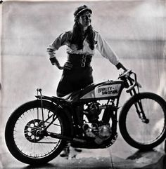 """Brittney Olsen and her 1923 Harley Davidson """"J"""" Model dirt track racer, 1100cc, captured for the first time in wet plate collodion. She races this bike all over the country around oval dirt tracks at speeds exceeding 90mph. Photo courtesy of Shane Balkowitsch"""