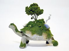 Japanese artist Maico Akiba crafts tiny mobile ecosystems on animals in a collection called 'Sekai'.