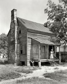"1944. Baldwin County, Georgia. ""Former slave cabin, Milledgeville vicinity."""