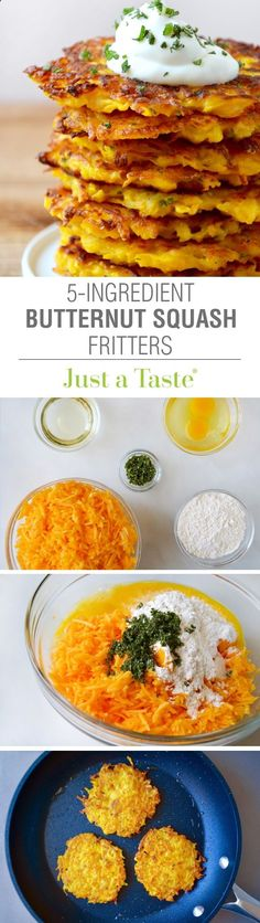 5-Ingredient Butternut Squash Fritters --This just made me so happy! Ive been looking for a butternut squash recipe for weeks.