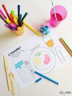 Un set de table à imprimer et colorier pour occuper les enfants pendant les long repas !