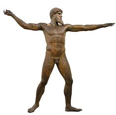 The Artemision Bronze (often called the God from the Sea) is an ancient Greek sculpture that was recovered from the sea off Cape Artemision, in northern Euboea (Modern Greek Εύβοια, Évia). It represents either Zeus[1] or Poseidon,[2] slightly over lifesize,[3] brandishing a missing thunderbolt (if Zeus) or trident (if Poseidon) with his raised right hand and sighting over his extended left hand. Found at the site of a shipwreck that occurred no earlier than the middle of the second century…
