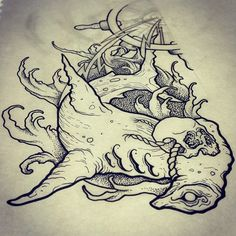 Sharks with hats. Shirt design for a mates band. #neotraditional #tattooart…