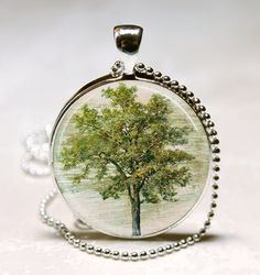 Green Tree Necklace Glass Bezel Art Pendant by MissingPiecesStudio, $8.95