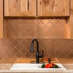 Fasade Monaco Polished Copper Backsplash Panel (Assembly Required - 18 x Gold Copper Tile Backsplash, Backsplash Panels, Kitchen Backsplash, Copper Kitchen, Navy Kitchen, Kitchen Redo, Home Upgrades, Beautiful Kitchens, Kitchen Remodel