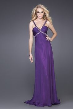 purple evening dress with jewels