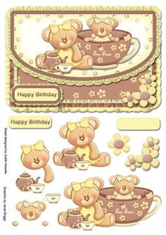 Teacup Bears On Frilled Envelope Style Card Front on Craftsuprint designed by Judith Mary Howells - A couple of cute girl teddies with teacups and teapot on a frilly edged envelope style card front with flower corner embellishment, decoupage pieces and greeting plate (a blank plate is included for any other wording/occasion). - Now available for download!