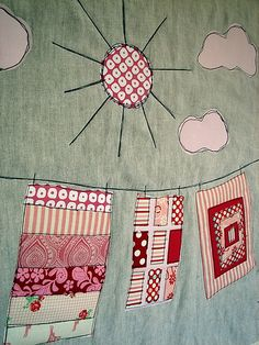 'pink quilts on the line' before quilting by Jacquie G, via Flickr