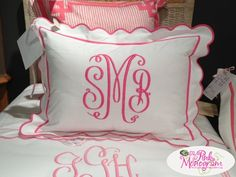 Monogrammed Shams Set of Two from Jane Wilner Designs Standard, Queen or King