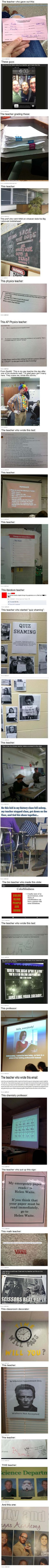 Teachers have a sense of humor too – they usually have to hide it from students, but not these particular teachers! Source: Funniest Corner