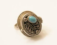 vintage sterling silver poison ring locket ring   with turquoise