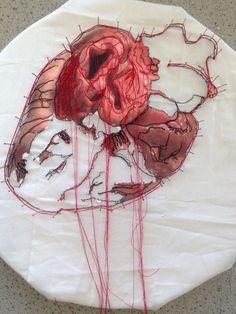 Arts And Crafts Storage Code: 7105452667 A Level Art Sketchbook, Arte Sketchbook, Arts And Crafts Storage, Brain Art, Medical Art, Textiles, Heart Art, Art Plastique, Art Techniques