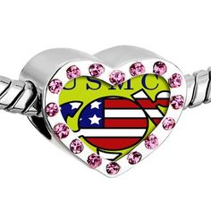 Pugster Pink Swarovski Crystal American Usmc Sailor Photo Heart Silver Plated Beads Fits Pandora Charm Chamilia Biagi Bracelet Pugster. $16.49. Metal: Metal, crystal. Weight (gram): 2.8. Size (mm): 12.95*7.4*10.31. Color: Silver tone, light rose