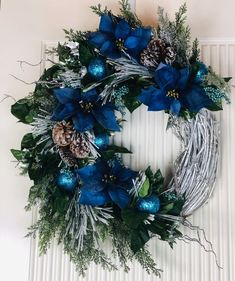 Excited to share this item from my shop: Poinsettia Wreath, Farmhouse Wreath, Christmas Wreath, Pine Juniper Wreath Blue Christmas Decor, Gold Christmas Decorations, Christmas Swags, Silver Christmas, Holiday Wreaths, Christmas Crafts, Merry Christmas, Christmas Villages, Victorian Christmas