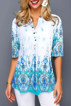 Tribal Print Split Neck Button Front Blouse Women Clothes For Cheap, Collections, Styles Perfectly Fit You, Never Miss It! Trendy Tops For Women, Blouses For Women, Women's Blouses, Stylish Tops, Formal Blouses, White Blouses, Casual Tops, Tops Bonitos, Vestido Casual
