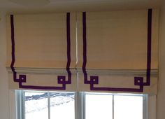 Greek Key Ribbon Banded Roman Shade by recreateyour on Etsy