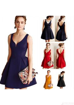 633db5a923130e Vintage Solid Color Backless Dress For Women Plus Size. Sukienki MiniSuknie