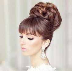 coiffure mariage chignon haut - New Ideas Wedding Guest Hairstyles, Wedding Updo, Bride Hairstyles, Hairstyles With Bangs, Hairstyle Ideas, Wedding Hair And Makeup, Bridal Hair, Bridal Headpieces, 1960s Hair