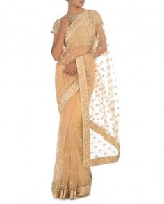 Latte Brown Sari with Embroidered Motifs by Dia Kapoor