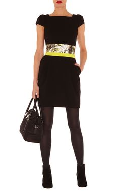 11c237bb24d Graphic colour dress Heavy jersey shift dress with cap sleeves and a  contrasting animal print waistband