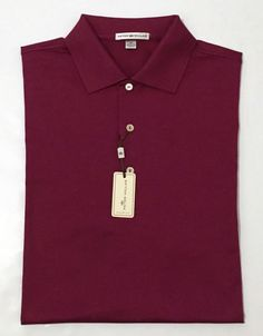 9c3ca680 New Peter Millar Kelly Tomato Burgundy Cotton Golf Polo Shirt Sz Medium $89  | eBay