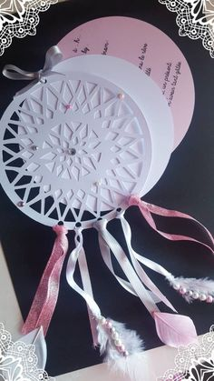 Marriage ceremony Dreamcatcher feather Pearl baptism beginning announcement Dream Catcher White, Feather Dream Catcher, Decoration Communion, Cajas Silhouette Cameo, Pearl Party, Birth Announcement Boy, Baby Cards, Wedding Cards, Wedding Decor
