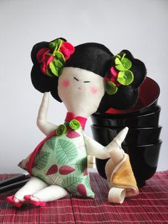 Chinese DOLL with fortune COOKIE - Limited Edition- handmade in Italy