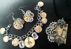 Steampunk Music Jewelry Set by WrapsbyRene on Etsy, $55.00