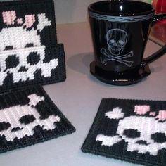 Skull Coasters - Plastic Canvas  Hand Stitched
