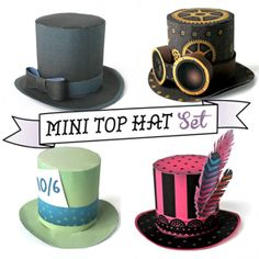 Four no sew mini top hat pattern templates!