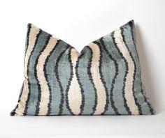 Ikat Velvet Pillow Cover, Uzbek Ikat, Cream Gray Pillow, Velvet Pillow, Decorative Throw Pillow Cover Accent Velvet Lumbar Pillow