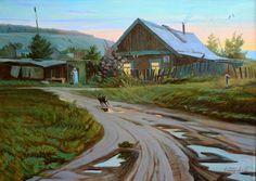 Купить Долгожданная встреча - зеленый, деревня, дом, село, закат, мальва, дорога, забор, бабушка
