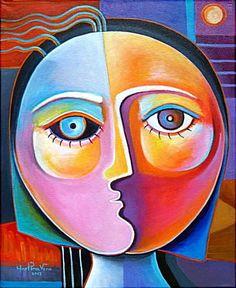 Items op Etsy die op Kubistische abstracte originele Acryl schilderij op canvas Marlina Vera kunstgalerij illustraties verkoop vrouw gezicht lijken