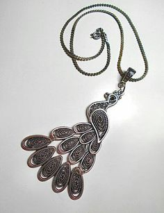 SALE Elegant Large Silver Peacock Pendant Necklace w/Tapering Dotted Engraved Tail & Black Crystal Eye on Thin Vintage Chain FREE SHIPPING - Only $9.95 on Etsy! https://www.etsy.com/listing/220033180/sale-elegant-large-silver-peacock