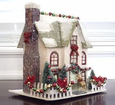 putz house garland | christmas putz super cute love the garland and lights on the roof