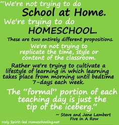 We are not trying to do school at home we are trying to do homeschool....