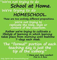 Wonderful quote that captures the heart of homeschooling! (HolySpiritLedHomeschooling.net)