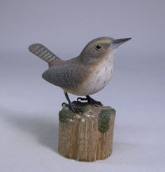 Rock Wren Hand Carved and Hand Painted Wooden Bird