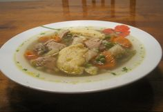 Zöldséges sertésraguleves Pork Stew, Goulash, Thai Red Curry, Soup, Chicken, Meat, Vegetables, Ethnic Recipes, Pork Stew Meat