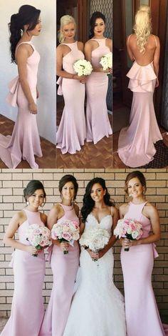 long bridesmaid dress, pink bridesmaid dress, bridesmaid dress with train, backless bridesmaid dress