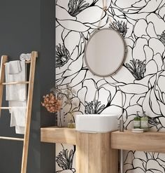 Flower Wall Mural Removable. Minimalist Wallpaper Design. Peel   Etsy